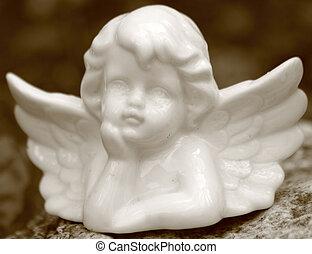 ouderwetse , porselein, engelachtig, figurine