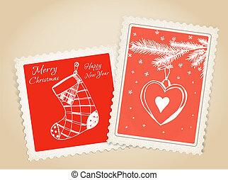 ouderwetse , post, kerstmis, vrolijk, stamp.