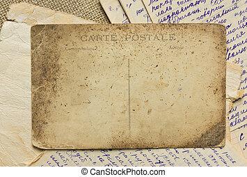 ouderwetse , postkaart, en, brieven