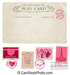 ouderwetse , postkaart, en, postzegels, -, voor, trouwfeest,...