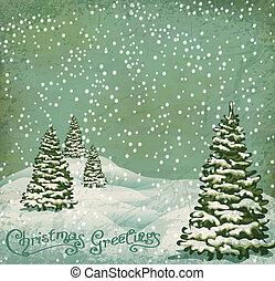 ouderwetse , postkaart, met, kerstbomen , sneeuw