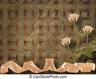 ouderwetse , postkaart, voor, uitnodiging, met, bos van, rooskleurige rozen
