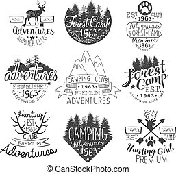 ouderwetse , postzegels, set, bos