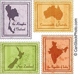 ouderwetse , postzegels, set