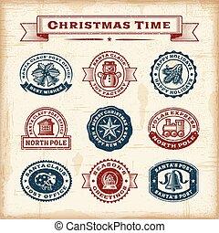 ouderwetse , postzegels, set, kerstmis