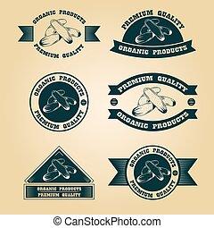ouderwetse , postzegels, set, oogsten, organisch