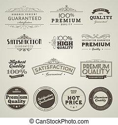 ouderwetse , premie, kwaliteit, etiketten