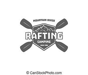 ouderwetse , rafting, kayaking, canoeing, kamp, logo, etiketten, en, badges., modieus, monochroom, buiten, design., openluchtactiviteit, theme., vector