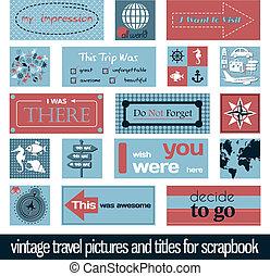 ouderwetse , reizen, afbeeldingen, en, titels
