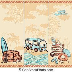 ouderwetse , reizen, banieren, zomer