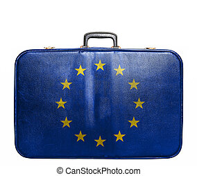 ouderwetse , reizen zak, met, vlag, van, europese unie