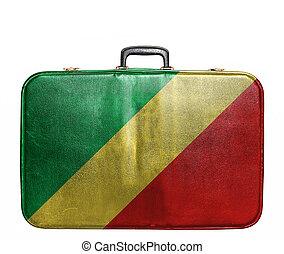 ouderwetse , reizen zak, vlag, congo, republiek