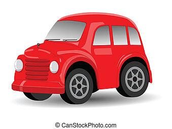 ouderwetse , /, retro, auto, spotprent, rood