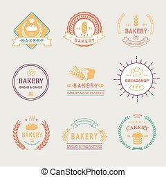 ouderwetse , retro, bakkerij, kentekens, logos, ., brood, brood, tarwe, oor, taart, icons., vector