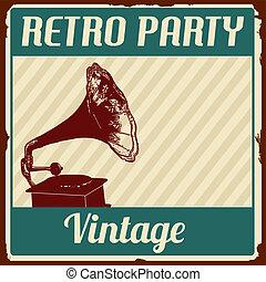ouderwetse , retro, feestje, poster