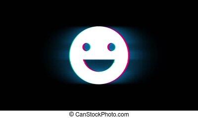 ouderwetse , retro, glimlachen, emoji, glitch, symbool, animation., groot