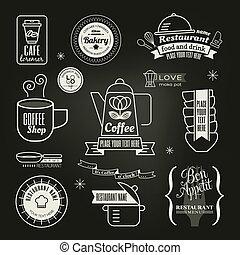 ouderwetse , retro, restaurant, koffiehuis, logo, ontwerp