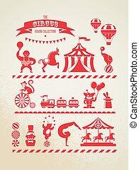 ouderwetse , reusachtig, circus, verzameling, met, carnaval, pretmarkt, vector, iconen, en, achtergrond
