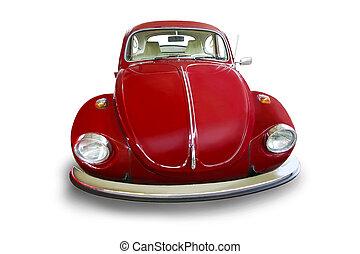 ouderwetse , rode auto, vrijstaand