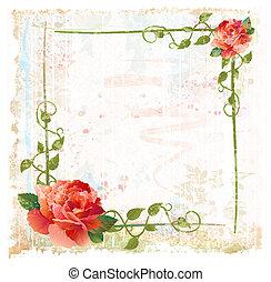 ouderwetse , rood, klimop, achtergrond, rozen