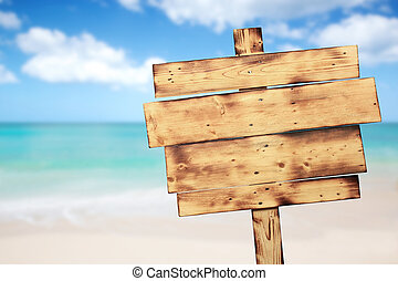 ouderwetse , rustiek, houten, meldingsbord, op het strand