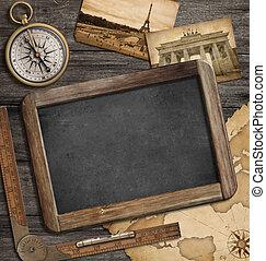 ouderwetse , schatkaart, nautisch, avontuur, achtergrond, bord, kompas