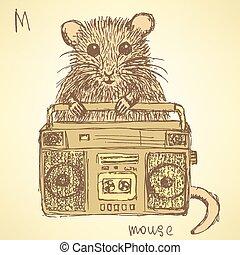 ouderwetse , schets, muis, stijl, zich verbeelden