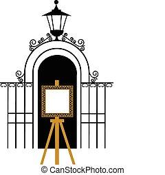 ouderwetse , schildersezel, park, tekening, poort