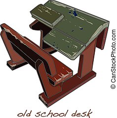 ouderwetse , school, vector, bureau