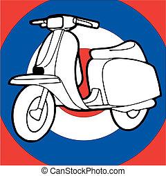 ouderwetse , scooter, knallen, vector, illustratie, retro