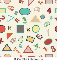 ouderwetse , seamless, gedaantes, vector, getallen, geometrisch, style.