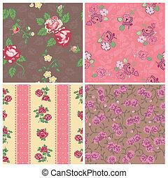 ouderwetse , -, seamless, verzameling, vector, ontwerp, achtergrond, plakboek, bloemen
