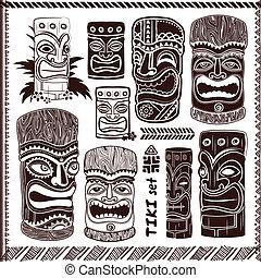 ouderwetse , set, aloha, tiki