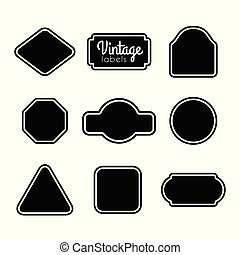 ouderwetse , set., etiketten, vector, black , lijstjes, ontwerp