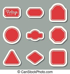 ouderwetse , set., etiketten, vector, ontwerp, lijstjes, rood