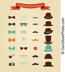 ouderwetse , set, hipster, retro, pictogram