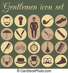 ouderwetse , set, kapper, iconen