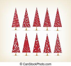 ouderwetse , set, kerstbomen