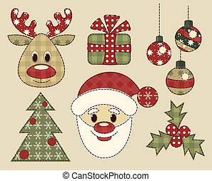 ouderwetse , set, kerstmis, afbeeldingen