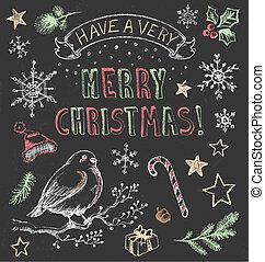 ouderwetse , set, kerstmis, chalkboard