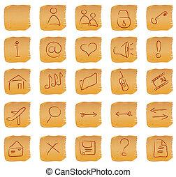 ouderwetse , set, pictogram