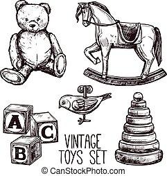 ouderwetse , set, speelgoed