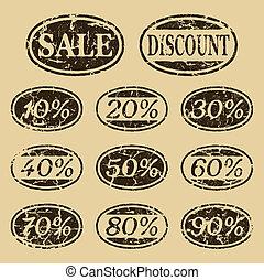 ouderwetse , set, verkoop, iconen