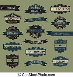 ouderwetse , set, zeehondje, kwaliteit, etiket