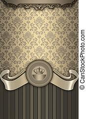 ouderwetse , sierlijk, frame., achtergrond, elegant