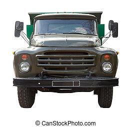 ouderwetse , sovjet, truck., vrijstaand, op, witte