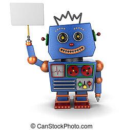 ouderwetse , speelgoed robot, met, meldingsbord