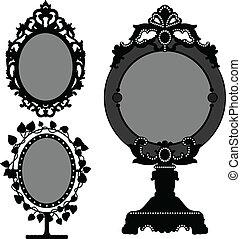 ouderwetse , spiegel, oud, prinsesje, sierlijk