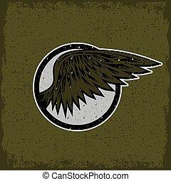 ouderwetse , sportende, grunge, vleugels, etiket