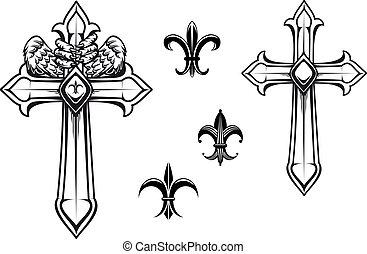 ouderwetse , steen, kruis